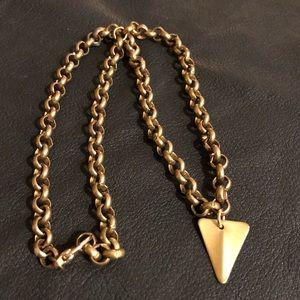 Jewelry - Brass triangle necklace on beautiful brass chain